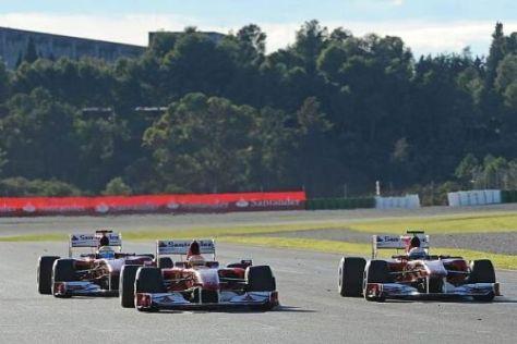 So stellt sich Luca di Montezemolo die Formel 1 vor: Drei Ferraris auf der Strecke...