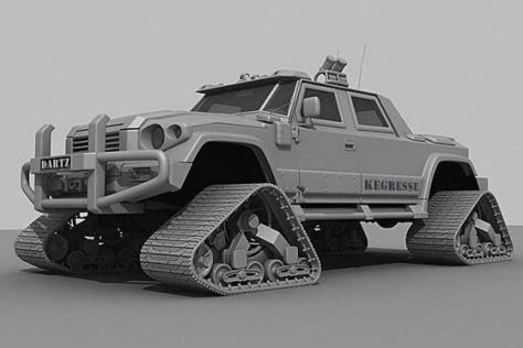 Dartz Kegresse Kettenfahrzeug 3 D-Animation