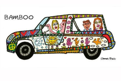 Rinspeed BamBoo, Golfcar Studie Genfer Autosalon 2011 bemalt von James Rizzi
