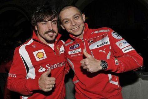 Weltmeister unter sich: Fernando Alonso (Ferrari) und Valentino Rossi (Ducati)