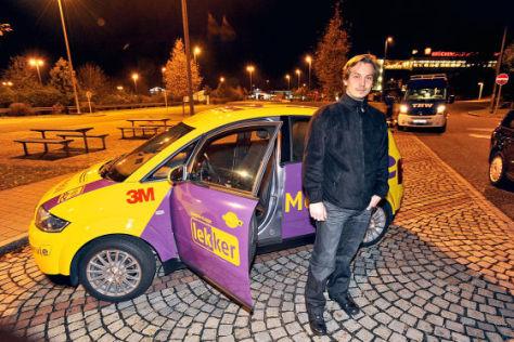 E-Auto Audi A2 mit Firmenchef Mirko Hannemann