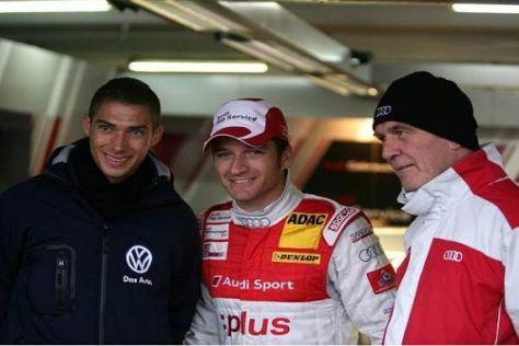 Audi-Kandidat Edorardo Mortara, Timo Scheider und Sportchef Wolfgang Ullrich