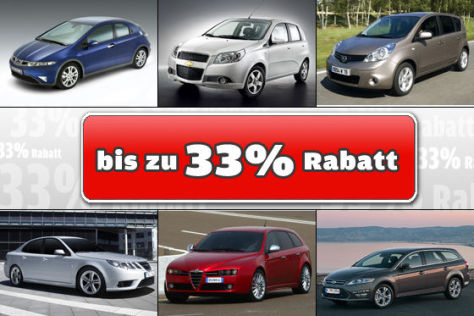 Neuwagen-Rabatte bis 33 Prozent