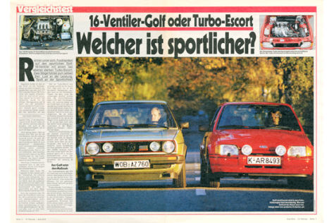 VW Golf GTI 16V, Ford Escort RS turbo