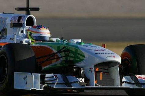 In Valencia mussten die Piloten noch mit dem alten Force-India-Auto fahren