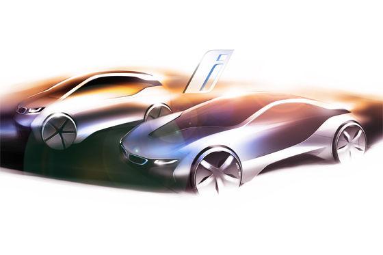 BMW i3 und i8: Konkreteres Bildmaterial gibt es noch nicht von den beiden Neuen.