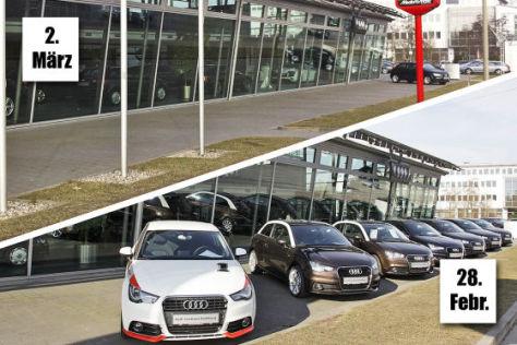 Montage: Voller und leerer Autohof mit Audi A1