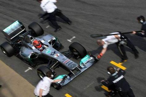 Michael Schumacher trainierte mit seiner Mannschaft auch Boxenstopps
