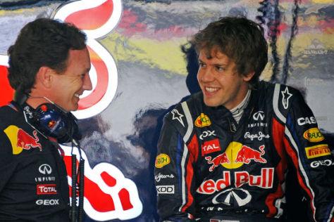 Sebastian Vettel (rechts), Christian Horner