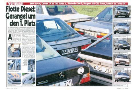 BMW 524d, Citroen CX25 TRD, Mercedes 300D, Peugeot 505 GTD, Renault 25 Turbo-DX