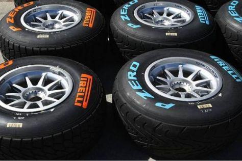Die Reifen sind dieses Jahr durch farblich unterschiedliche Logos markiert