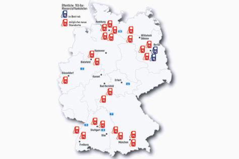 Wasserstofftankstellen in Deutschland
