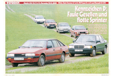 BMW 324d Mazda 626 GLX 2.0 D Mercedes 190 D Opel Ascona LS 1.6D Renault 21 GTD VW Passat CL
