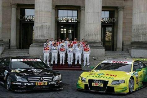 Der Paffett-Mercedes und der Tomczyk-Audi vor den DTM-Piloten 2011