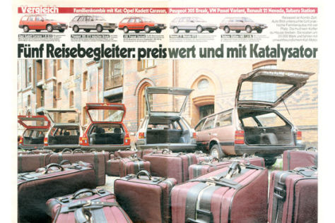 Opel Kadett Caravan, Peugeot 305 Break, VW Passat Variant, Renault 21 Nevada, Subaru Station