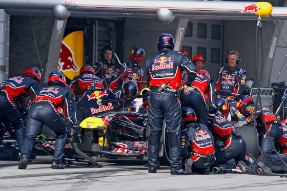 Boxenstop Sebastian Vettel