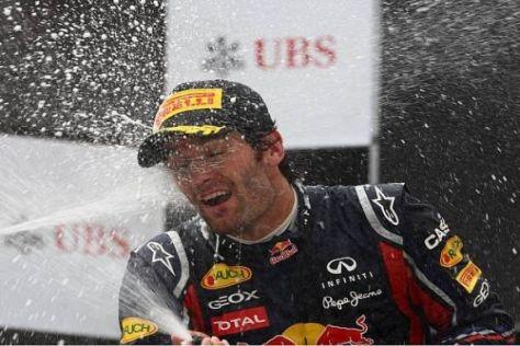 Die Erleichterung war Mark Webber bei der Siegerehrung durchaus anzusehen