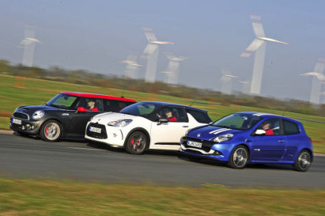 Citroën DS3 Mini Clubman JCW Renault Clio RS