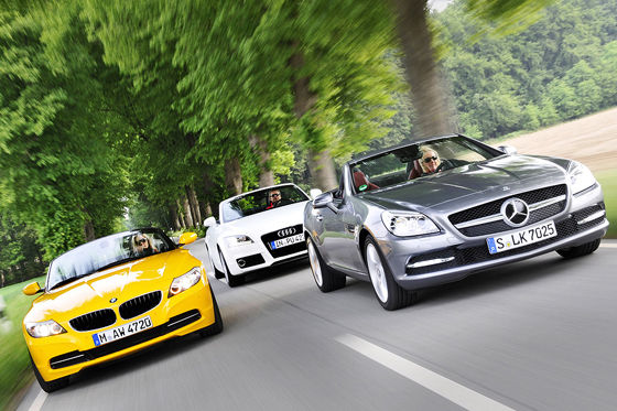 Video: Mercedes SLK, BMW Z4, Audi TT
