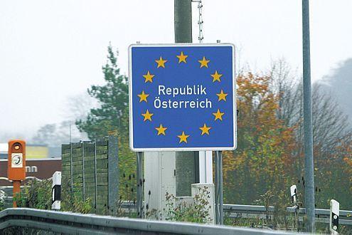 Grenzschild Österreich