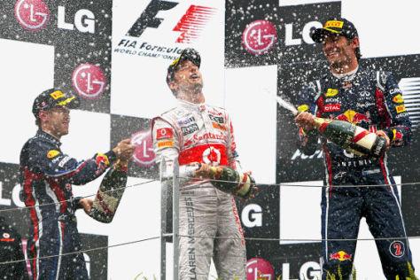 Vettel, Button und Webber auf dem Podium