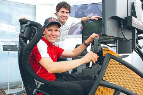 Audi-Werksfahrer Mattias Ekström im Simulator