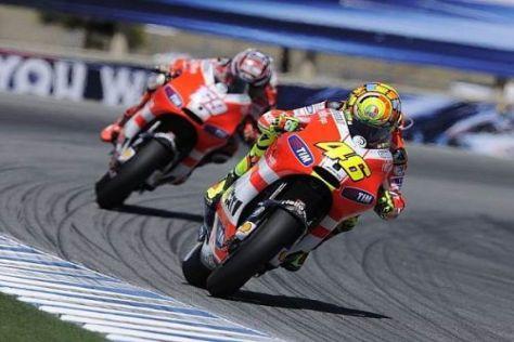 Valentino Rossi und Nicky Hayden waren in Laguna Seca gleichschnell