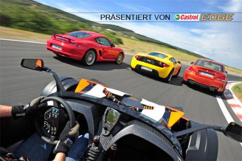 Vergleich Artega GT BMW 1er M Coupé KTM X-Bow R Porsche Cayman R