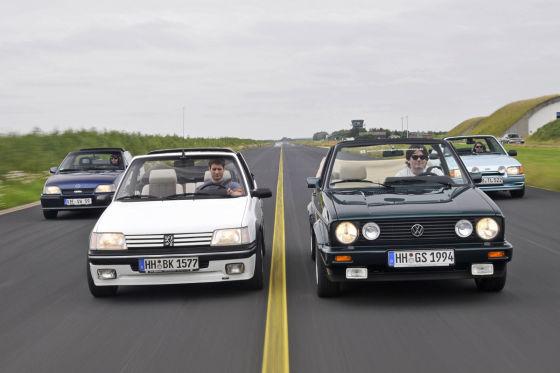 VW Golf Cabriolet 1.8 Opel Kadett GSi Cabriolet Peugeot 205 CTI Ford Escort XR3i Cabriolet