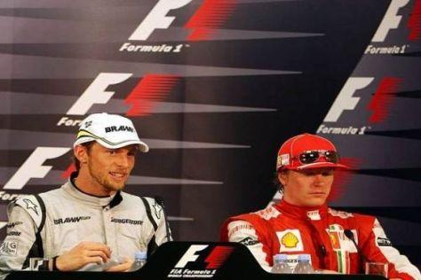 Button (hier in Monaco 2009) freut sich auf die Pressekonferenzen mit Räikkönen