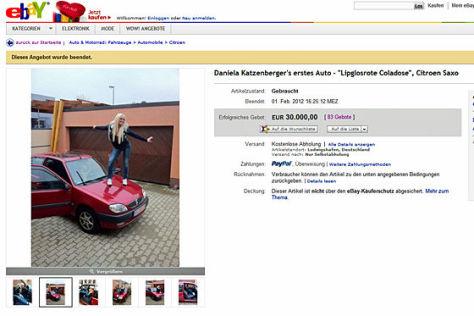 Ebay-Auktion von Daniela Katzenberger