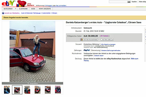 Ebay Auktion Daniela Katzenberger Versteigert Citro N