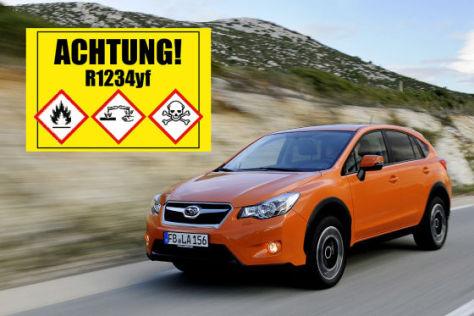 Warnschild Kältemittel R1234yf und Subaru XV (Montage)