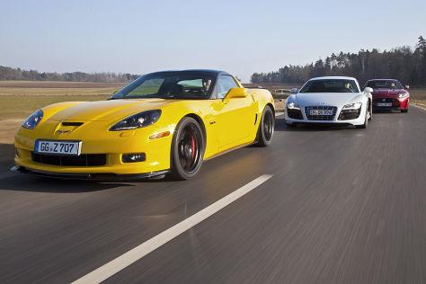 Chevrolet Corvette Z06/Audi R8 V10/Jaguar XKR-S: Vergleich