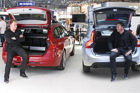 Montage: Robin Hornig im BMW 3er, Volvo V60