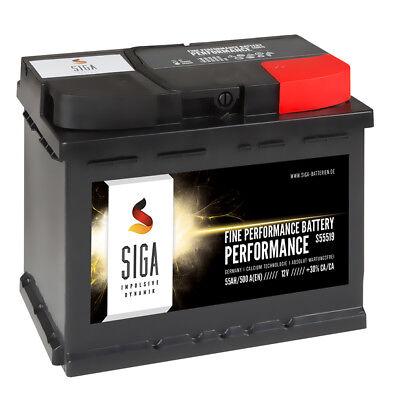 SIGA Autobatterie 12V 55Ah 500A/EN ersetzt 44Ah 45AH 46AH 47Ah 50AH 52AH 53AH