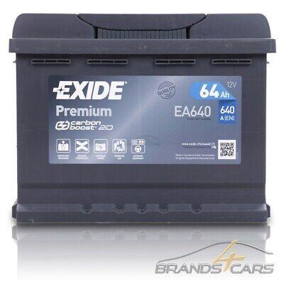 EXIDE AUTOBATTERIE 12V 64Ah STARTERBATTERIE 640A EA640 PREMIUM CARBON BOOST