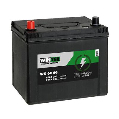 Winter Asia Autobatterie 12V 60AH Starterbatterie Plus Pol Links 560A/EN