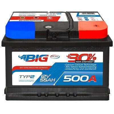 Autobatterie 12V 55Ah BIG Silver Edition +30% Starterbatterie ers 45Ah 50Ah 52Ah