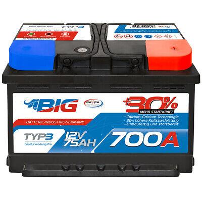 Autobatterie 12V 75Ah 700A BIG Silber Plus 30% PKW Batterie statt 70Ah 72Ah 74Ah