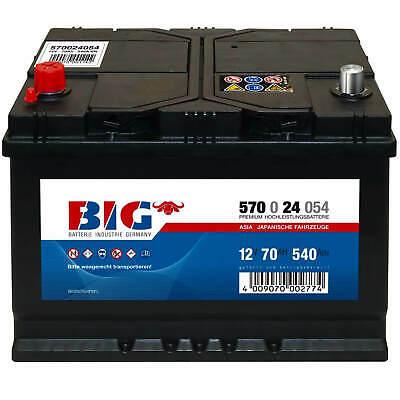 BIG ASIA Autobatterie 12V 70Ah Starterbatterie 57024 Japan Pluspol links