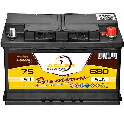 Autobatterie 12V 74Ah Adler Premium PKW Batterie statt 70Ah 72Ah 75Ah 77Ah