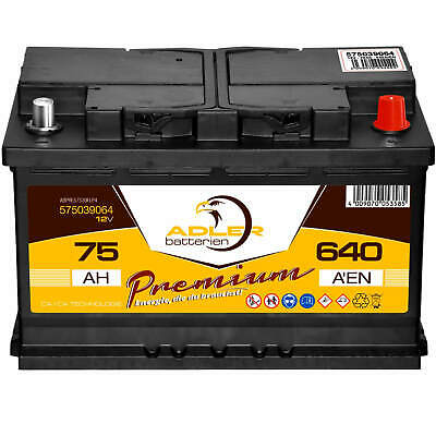 PKW-Batterie 12V 75Ah 640A Adler Starterbatterie statt 66Ah 70Ah 72Ah 74Ah 77Ah