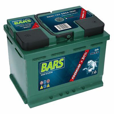 Autobatterie 12V 55 Ah 550A EN BARS PREMIUM Wartungsfrei sofort Einsatzbereit