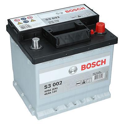BOSCH S3 002 45Ah 12V 400A Autobatterie Starterbatterie sofort Einsatzbereit