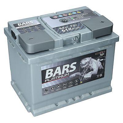 Autobatterie 12V 64 Ah 610A EN BARS PLATINUM Wartungsfrei sofort Einsatzbereit