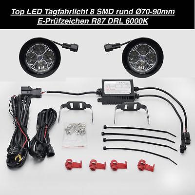 TOP Qualität LED Tagfahrlicht 8 SMD Rund Ø70-90mm E4-Prüfzeichen DRL 6000K (50