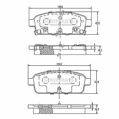 NIPPARTS (N3610906) Bremsbeläge, Bremsklötze für OPEL VAUXHALL CHEVROLET