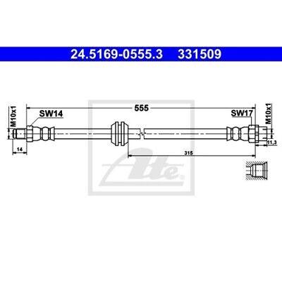 1 Bremsschlauch ATE 24.5169-0555.3 passend für BMW