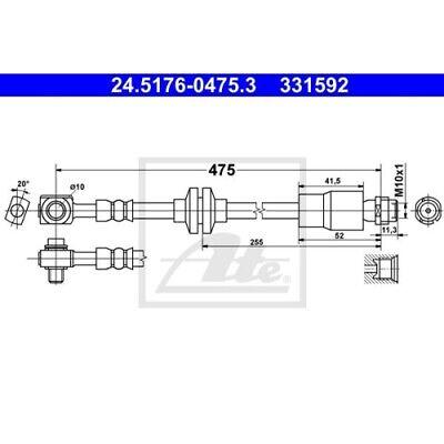 1 Bremsschlauch ATE 24.5176-0475.3 passend für OPEL VAUXHALL CHEVROLET